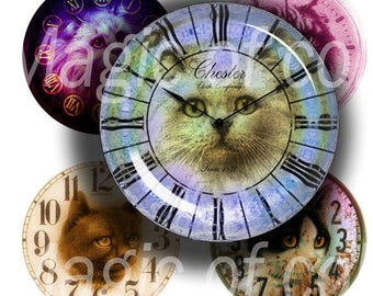 Watches and Cats - 63  1 Inch Circle JPG images - Digital  Collage Sheet