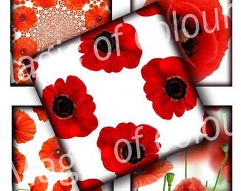 Red Poppies - 63  1x1 Inch Square JPG images - Digital  Collage Sheet