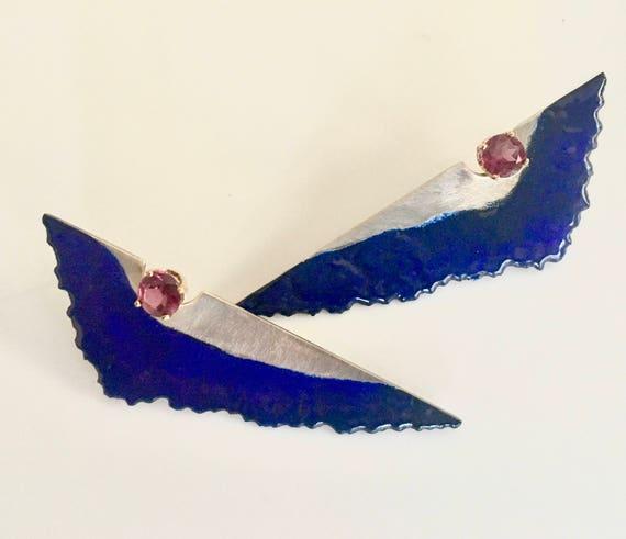 Enamel & Rhodolite Garnet earrings