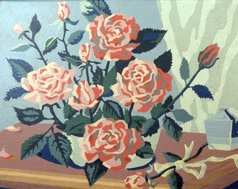 Vintage Paint by Numbers * flowers * roses * art* framed wall art
