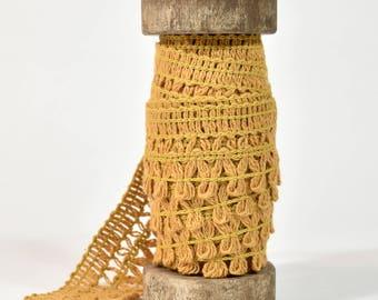 Wooden Spool of Fringe * mustard yellow * trim * packaging * 4.5 yards trim