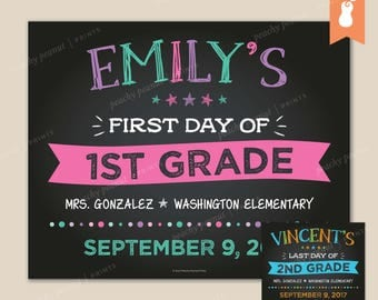 PRINTABLE | First OR Last Day Back to School Announcement Sign Poster Chalkboard Kindergarten Pre-K | 8x10 11x14 | Custom Photo Wall Decor
