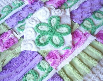 Vintage Chenille Bedspread Squares - Pretty Purple and Green-21-6""