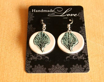 Ceramic LEAF Earrings - Little Handmade Porcelain Embossed Leaf Earrings - Ready To Ship