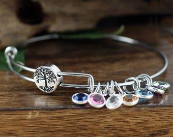 Family Tree Bangle Birthstone Bracelet, Silver Tree of Life Bangle, Stainless Steel Bangle, Family Tree Bracelet, Tree of Life Bracelet