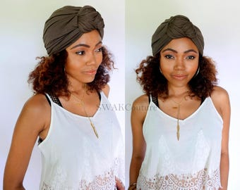 Turban Hat, Brown Turban Hat, Stretchy Cloche Cap, Womens Hat Cotton Jersey - or Choose Your Color