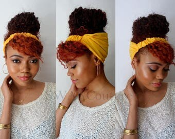 Satin Lined Wide Headband, Solid Color Pineapple Bun Wrap, Yoga Fitness, Protective style head scarf - Mustard or Choose Your Color