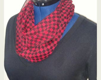 Red and Black Checkered Chiffon Infinity Scarf