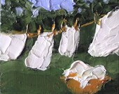 Miniature Impressionist Painting 4x4 Backyard Clothesline Art Laundry Washday LANDSCAPE Lynne French