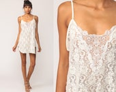 Lingerie Nightgown Slip Dress Mini White Floral Lace Sheer Vintage 90s Chemise Spaghetti Strap Sleep Sexy Medium Large