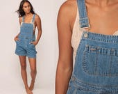 Denim Overall Shorts 90s Jean Shorts Bib Shortalls Romper Playsuit Grunge Suspender Blue Woman 1990s Vintage Extra Large xl