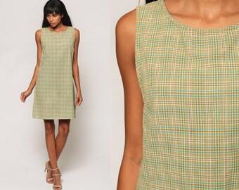 Grunge Mini Dress 90s Checkered Print Plaid Dress 1990s Green Sleeveless Vintage Boho Shift Minidress Preppy Large