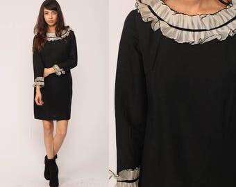 60s Mod Mini Dress Gothic Lolita Dress Black White Shift Long Sleeve Goth Ruffle Collar Vintage 1960s Cocktail Party Gogo Small