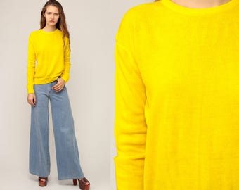 Yellow Sweater 70s Sweater Bright Lemon LIGHTWEIGHT Knit Neon Slouchy Pullover Jumper Plain 1970s Hipster Vintage Large