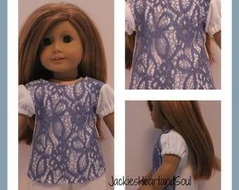 White T-shirt with Dark Blue Denim Lace Overlay Fits 18 inch Doll