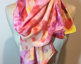 Soft pink watercolor scarf, tie dye shibori silk oblong silk, pink, yellow, lavender hand painted silk scarf, Valentines Day, Romantic scarf