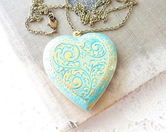 Large Heart Pendant - Aqua Heart Locket - Heart Photo Locket - Scrolled Heart Locket - Gift For Her Locket - Valentines Day Gift - Keepsake