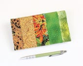 Patchwork Checkbook Cover with Pen Holder, for Duplicate Checks - Gold, Black, Green, Orange Check Book, Cheque Book