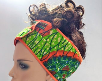 Orange Blossom African Inspired Wrap Cap- Satin Lined-Wrapped Hair
