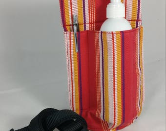Massage Therapy 8 oz lotion bottle RIGHT hip holster, candy stripes, upcycled, black belt