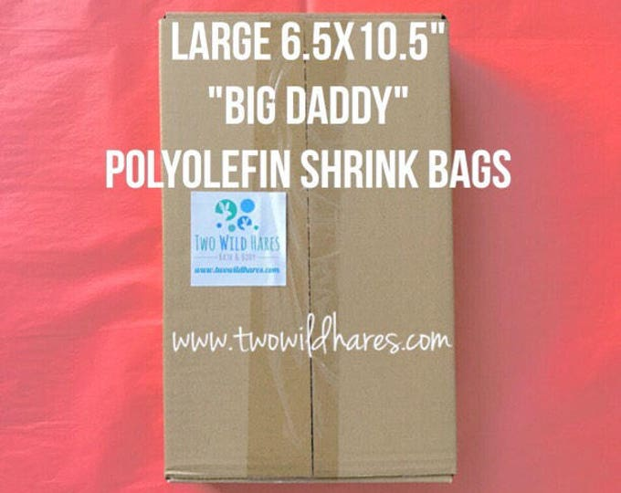 "500-LG 6.5x10.5"" POLYOLEFIN Shrink Bags (Smell Thru Plastic) 75 g, Fits 4"" Big Daddy Bath Bomb!"