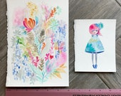 GRAB BAG Originals - Magical Painted Forest + Quirky Girl Watercolor Paintings