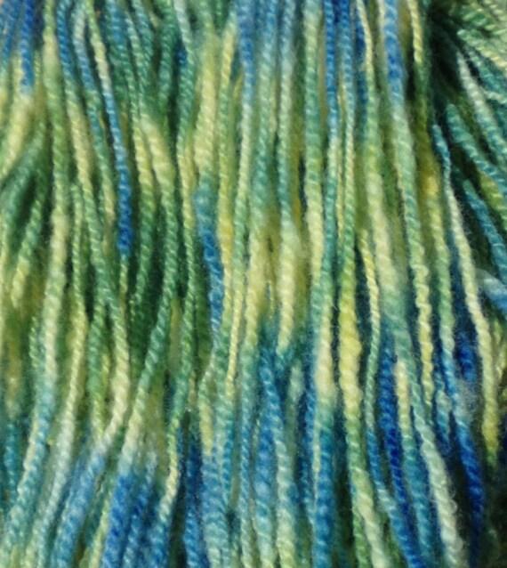 Hand Spun Wool Yarn 98 yards Water Garden