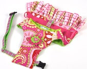 Dog Dress, Dog Harness - Pink and Green IN STOCK