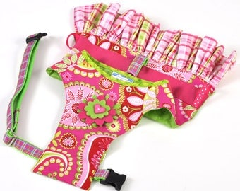 Dog Dress, Dog Harness - Pink and Green