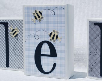 Personalized Baby Name Blocks . Caleb . Honeybee . Navy and Gray