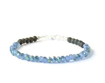 Aromatherapy Bracelet, Blue Crystal and Natural Lava Stones, Diffusing Oils Jewelry
