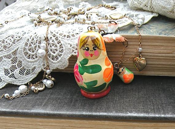matryoshka doll necklace assemblage shabby chic heart charm
