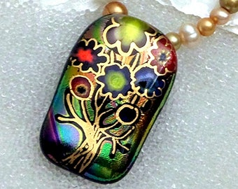 Tree of Life Choker, Dichroic Glass Pendant, Fused Glass Statement Necklace, Freshwater Pearls, Millefiori Murrinie, Gold, Green, Rose Gold