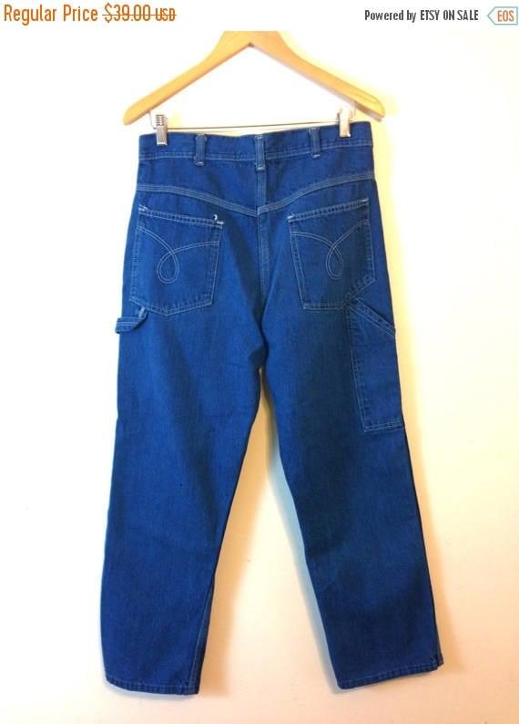 SALE 50% OFF Vintage 80s Mom Jeans Super High Waisted Carpenter Pants 1980s Medium Blue Wash Denim trousers Big Pockets Wide Boxy Tapered Le