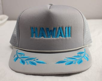 Vintage HAWAII Tourist Mesh Trucker Hat Souvenir Gray and Turquoise NOS