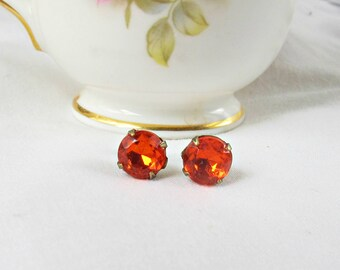 Orange Earrings Ear Studs Vintage Glass Bridesmaid Hyacinth Round. Glam It Up Jewellery dspdavey Jewelry. Cute Small Eye-Catching Sparkly