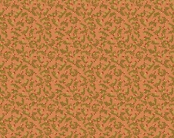 """NEW Chicks on the Run Craft 100% Cotton Quilt Fabric 44"""" wide X ONE Yard -Salmon Leaves"""
