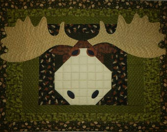 OOAK Primitive Moose on the Loose Quilted & Finished Wall Quilt