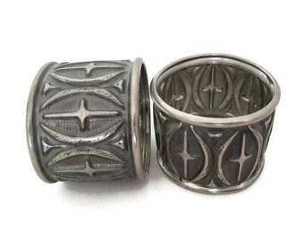 Vintage Napkin Rings, Gothic Cross Design Norwegian Pewter Napkin Rings, Set of 2, Scandinavian Silver