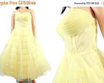 ON SALE 50s Strapless Prom Dress - Vintage Lemon Yellow Formal Wedding Gown Tiered Ruffled Tulle Netting Size XS Free Us Shipping