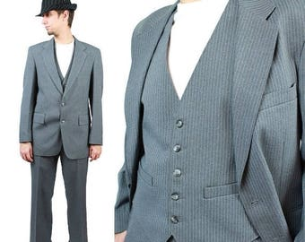 ON SALE 3 Three Piece Pinstripe Suit 37R 38R 31x29 Vintage Gray Striped Gangster Costume Free Us Shipping