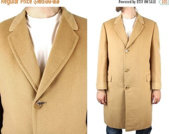 ON SALE Vintage Top Coat 40R Roos Atkins 100% Cashmere Tan Overcoat Long Trench Jacket Free Us Shipping