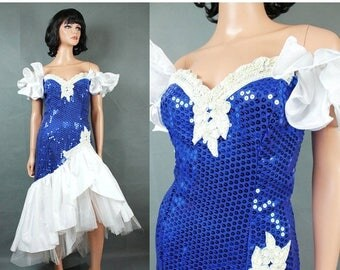 ON SALE 80s Prom Dress XS Vintage Blue White Sequins Beaded Wiggle Mermaid Pageant Gown Free Us Shipping