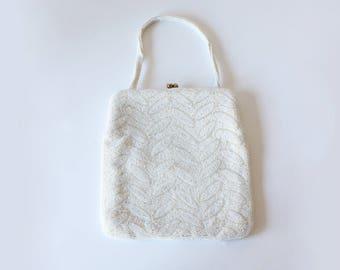 1950s Bag / Vintage Magid White Hand Beaded Evening Bag