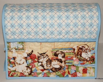 Quilted Sewing Machine Cover, Cats, Kittens, Quilts, Blue Argyle