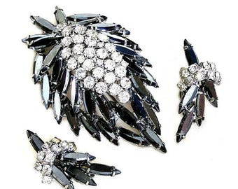 Juliana DeLizza and Elster Hematite and Ice Brooch Earring Set