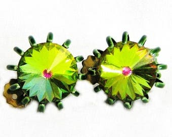 Watermelon Glass Green and Pink Vitrail Medium Clip Earrings
