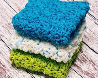 Crochet Kitchen dishcloths washcloths Turquoise Blue Fleck Lime Green Face wash rags Cotton Dishcloth  Handmade Set of 3 Housewarming Gift