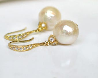 Baroque Pearl Earrings | Ivory Champagne Kasumi Freshwater Pearls | CZ Pavé Gold Vermeil Dangles | Bridal | Birthday Gift | Ready to Ship