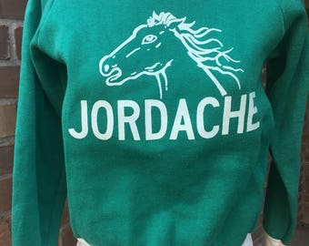 Vintage Jordache Sweatshirt Green with Horse Ringer Small Youth Shirt